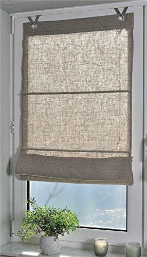 Estor plegable 100% lino Metis natural con ojales y ganchos, 60 * 140 cm