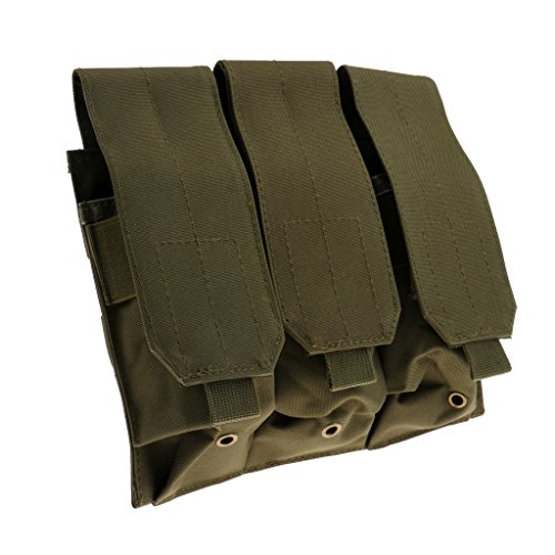 Gazechimp Taktische Magazintasche mit 3 Single Pouch, im Freien Aktivitäten Beutel, Praktisch und Hochwertig Armeegrün