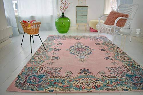 Rozenkelim.nl Pastell Vintage Teppich   im Angesagten Shabby Chic Look   für Wohnzimmer, Schlafzimmer, Flur Etc.   Pastell (275 x185 cm)