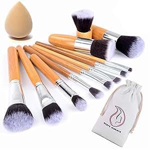 Start Makers Pennelli Make up in Bambù -12 Pennelli Naturali per il Trucco - Set di Pennelli Vegan per il make up - Pennello Kabuki soffici  - Pennelli make up professionali - spugnetta per il trucco
