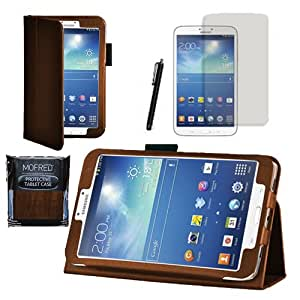 """MOFRED® Brown Samsung Galaxy Tab 3 8"""" Case-MOFRED® Retail Packed Executive Multi Function Standby Case For Samsung Galaxy Tab 3 8.0 -8 inch Tablet + Screen Protector + Stylus Pen (Available in Mutiple Colors)"""