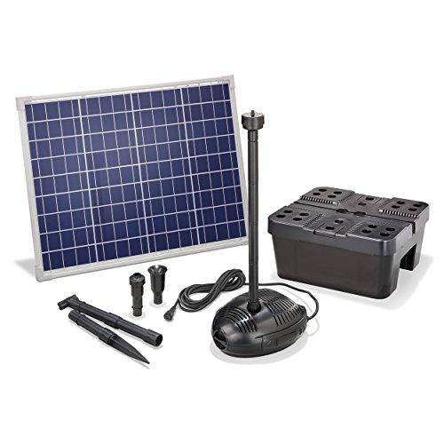 Solar Teichfilterset Profi 1700 l/h Förderleistung 50 W Solarmodul Komplettset bis 6000l Gartenteich 101072