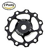 Fahrrad Schaltwerk 2Pack, fomtor 11T MTB Rennrad Schaltwerk Pulley Jockey Rad Bearing Pulley Rad für Shimano/SRAM/Campagnolo (Aluminium, schwarz)