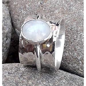 Mondstein Spinner Band Ring, massivem 925 Sterling Silber Ring, Geschenk Ring für Weihnachten, Daumenring