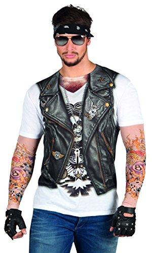 Boland 84201 - Fotorealistisches Shirt Biker, Kostüme für Erwachsene (Biker Weste Kostüm)
