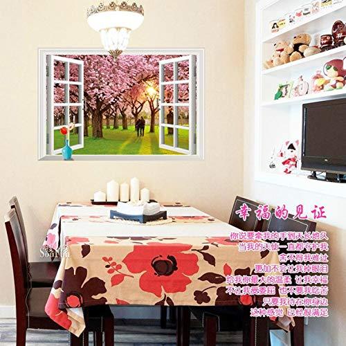 3D Wandtattoo Wandtattoo Schlafzimmer Wandstickergefälschter Fensterraum, Kreative Wand, Pastorales Haus, E Unter Dem Romantischen Kirschbaum, Oversize