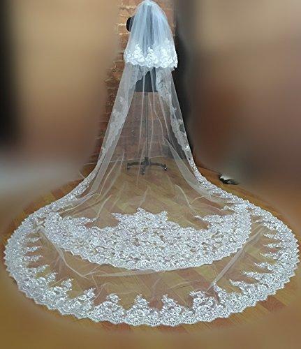 Flower-ager 2livelli con pizzo applicato cattedrale velo da sposa 3.5m lungo 1.8m larghezza veli da sposa cappella con pettine matrimonio accessori bianco avorio white