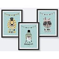 Kinderzimmer Poster Tiere Set - Löwe, Bär, Panda - Kinderbilder für Jungen und Mädchen - in A4 - auch in A3 erhältlich - auch einfarbig in rosa, grün, senfgelb