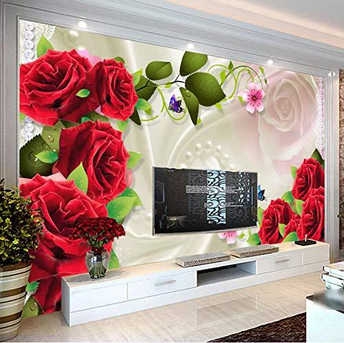Fototapete 3D Foto Langlebig Wasserdicht Kunst Bild Rolle Rose Blume Wohnzimmer Tv Hintergrund Wand-Dekor Malerei Für Schlafzimmer Aufkleber Design 152 Cm * 104 Cm (Wand Schlafzimmer Dekor)