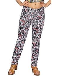 Comix Women Lycra Fabric Comfort Fit Ankle Length Printed Stylish Leggings (Black,White,XL)