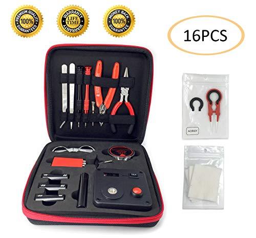 Coil Building Kit, DIY Spule Werkzeug-Kit Für Elektronische | Spule Bauen Werkzeug-Kit | 16 Stück alles in einem DIY Werkzeug-Kit für RDA RBA Mit Neuesten Spule Jig (V4)/521 Mini Registerkarte MEHRWEG