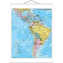 Mittel- und Südamerika politisch - Wandkarte mit Metallbeleistung