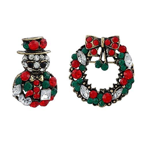 Gazechimp 2 Stücke Weihnachten Thema Party Brosche Pin Kostüm Schmuck - Muster Auswählen - Schneemann und (Pins Kostüm Schmuck)