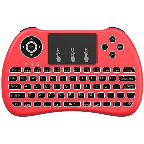 AAAHOMEEU Backlit 2.4GHz Wireless Mini Keyboard H9 Pro, Maus Toupad Combo, tragbare Multi-Media Fernbedienung für Android TV Box, HTPC, IPTV, PC, Pad und mehr – Rot (Pure White Hintergrundbeleuchtung)