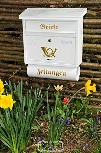 Nuovo formidabile massivstahl-Cassetta delle lettere, zincato con antiruggine F grande in Edelweiss Bianco candido giornali Post antico Mailbox scudo