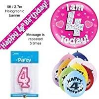 4th Birthday Party Set Age 4 Girls (Banner Balloons, Candle, Badge)