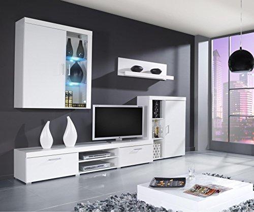 Wohnwand SAMBA Mit LED Beleuchtung Wohnzimmer Möbel (Weiß / Weiß Hochglanz)