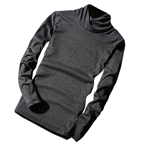 FORH Herren Rollkragen Langarmshirt Retro Solide Farbe Sweatshirt Blusen Longsleeve Pullover T-shirt Leicht Oversize Basic Sweatjacke tops in verschiedenen Farben (XXL, Dunkel (Braut Kostüme Kind Dunkle)