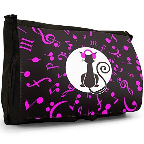 Musicale Animali Grande borsa a tracolla Messenger Tela Nera, scuola/Borsa Per Laptop Musical Cat