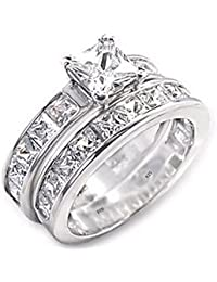 Ladies Ring Set-925 Sterling Silver Luxury Princess Cut Simulated Diamonds CZ Affordable Wedding Engagement Ring Set