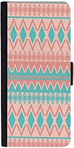 Snoogg Light Pink And Blue Aztec Graphic Snap On Hard Back Leather + Pc Flip ...