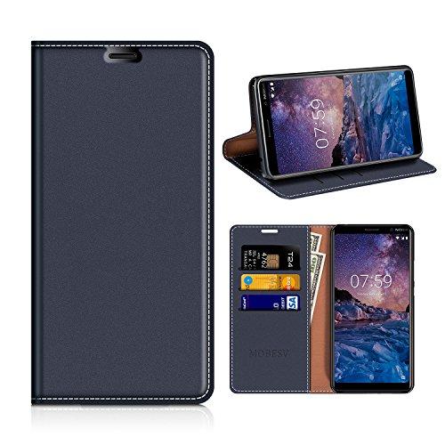 MOBESV Nokia 7 Plus Hülle Leder, Nokia 7 Plus Tasche Lederhülle/Wallet Case/Ledertasche Handyhülle/Schutzhülle mit Kartenfach für Nokia 7 Plus - Dunkel Blau