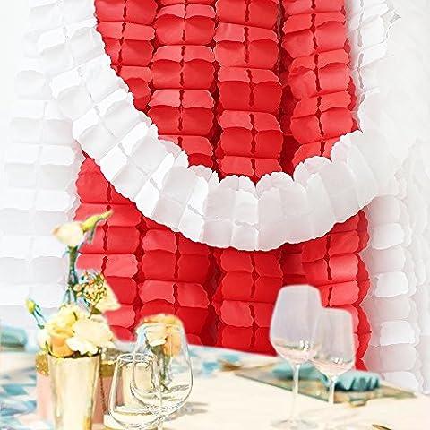 Life Glow appeso riutilizzabile del trifoglio del Quattro-Foglio Garland (3.6M Lungo ciascuno) -Tissue fiori di carta, carta velina Garland, Independence Day Decoration, decorazione Wedding, decorazione del partito, carta velina, carta velina fiori Kit, Ghirlanda Craft, set di 6 (rossa)
