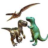 3 pièces Dinosaur gonflable Brachiosaurus (Lot de 3, y compris Velociraptor, Pteranodon, T-Rex), les grands animaux gonflables jouets pour jeu intérieur et extérieur