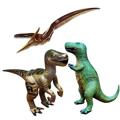 3 pezzi di gonfiabile dinosauri Brachiosaurus(Set di 3,Compreso Velociraptor,Pteranodon,T-Rex),Grandi gonfiabili giocattoli degli animali per gioco interne ed esterne