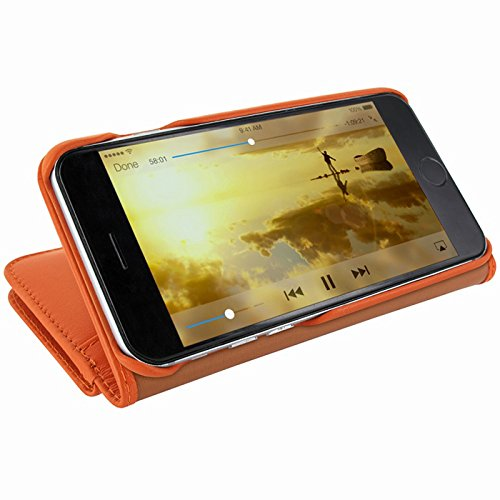 "Piel Frama ""walletmagnum"" Leder Cover Fall für Apple iPhone 7 – blue-parent Orange"