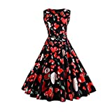 Qiusa Womens Dresses Knot Front Geraffte Sommer sexy Cocktail Maxi Halfter Vintage Princess Prom Ärmellose Kleider - Vintage Printing Bodycon Halfter Abend Party Prom Swing Dress