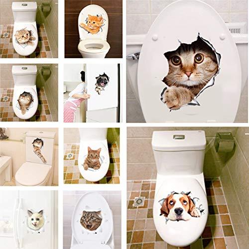 LELTWS 3D Loch Ansicht Lebendige Katzen Wand Aufkleber Bad Wc Wohnzimmer Kühlschrank Dekoration Tier Decals Kunst Aufkleber Wand Poster -