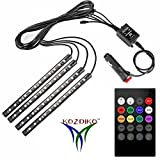 #4: Kozdiko Car Atmosphere LED Lights 4pcs 48 LED DC 12V Multicolor Music Car Strip Light Interior LED Under Dash Lighting Kit without Sound Active Function and Wireless Remote Control Universal for Hyundai Grand I10