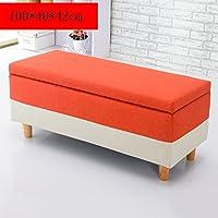 Preisvergleich für Yuan Polsterhocker Massivholz Waschbar Lagerung Hocker Schuh Bank Sofa Hocker Schminktisch Einkaufszentrum Schuhladen Fußbank/Hocker (Farbe : Orange)