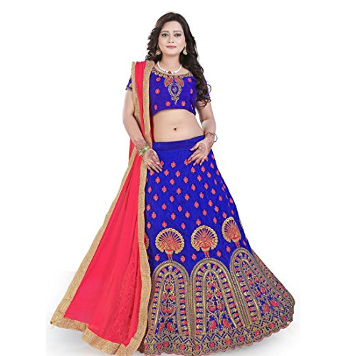 Siddeshwary Fab Blue And Pink Embroidered Fancy Floral peacock Designer Free Size Lehenga choli