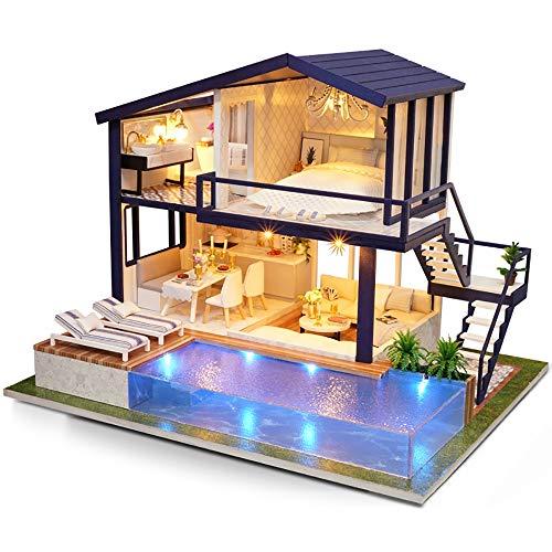 HLKYB Holzpuppenhaus Mini DIY Architekturmodell, handgemachte kreative Möbel romantische Kunst Kinder Geschenk