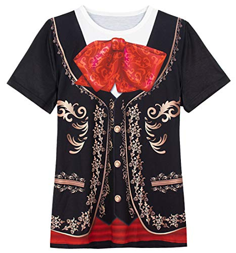 Mariachi Halloween Kostüm - COSAVOROCK Damen Mariachi Halloween Kostüm Bedruckte T-Shirts (XL, Schwarz)