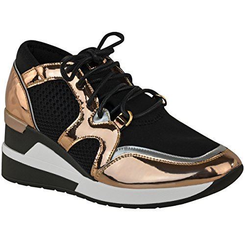 Fashion Thirsty Mujer Hi Top Zapatillas Cuña Gimnasio Fitness Moderno Deporte Camuflaje Talla UK - Oro Rosa Metálico, 36