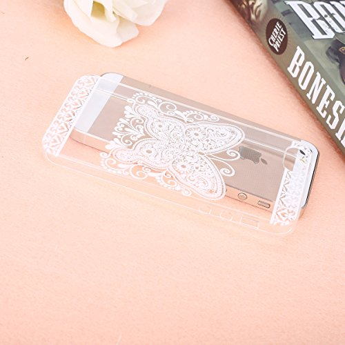 Etsue Silikon Case für iPhone SE/iPhone 5S [Eiffelturm Pflaume Baum] Transparent TPU Schutzhülle, Bunte Blumen Schmetterling Painted Ultradünne Klare Silikon Gel Schutzhülle Weich TPU Case Crystal Cle Weiß Blume,Schmetterling