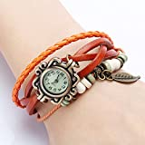 Liroyal Bronze Women's Ladies Weave Wrap Leather Bangle Bracelet Quartz Watch