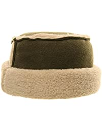 GREEN SHEEPSKIN EFFECT FLAT TOP PILLBOX HAT FLEECE TRIM & LINING
