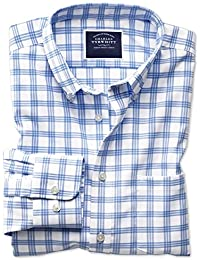 995118b8a38 Classic Fit Button-Down Non-Iron Twill White and Blue Cotton Shirt Single  Cuff by Charles…