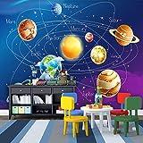 Carta Parati 3D,3D Cartoon Pianeta Del Sistema Solare Foto,Hd Arte Stampa Poster Immagine Fotografia Impermeabile Grande Murale Di Seta,Per Soggiorno Tv Camera Da Letto Sullo Sfondo Hotel Cucina Pare