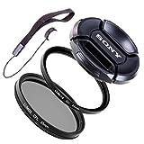 LUMOS STARTER Filter Set 55mm / Polfilter & UV Filter & Objektivdeckel & Halter / passend zu Sony DSC-HX400V HX 300 FDR-AX53 Kamera Zubehör 55 mm