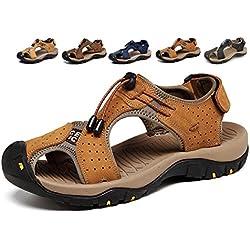 Sandalias Deportivas Hombres Verano Exterior Senderismo Zapatos Trekking Casual Zapatos de Montaña Cuero Sandalias de Playa(Marrón,41/42 EU,26.5CM De talón a dedo del pie