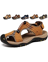 Asifn Sports Outdoor Sandals Summer Men's Beach Shoes Leather Casual Breathable Non-Slip Hiking Walking Athletic