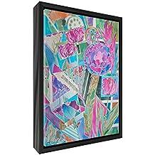Feel Good Art Flores explosión Póster de lona impresa con sólido Marco Blanco Surround, madera, multicolor, grande