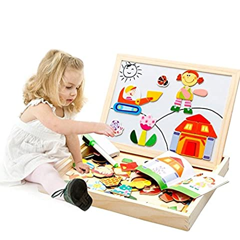 Wooden Double Side Dry Easel Drawing Writing White/Black Board Magnetic Jigsaw Puzzle Game Toy Set Birthday Christmas Gift for Boys Girls Kids Age 3 4 5 Years Old, People