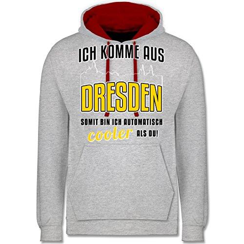Städte - Ich komme aus Dresden - Kontrast Hoodie Grau Meliert/Rot