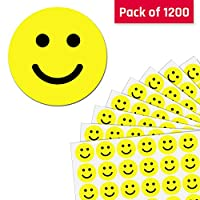 2.5cm Yellow Happy Smiley Face Stickers - 50 Sheets, Pack of 1200